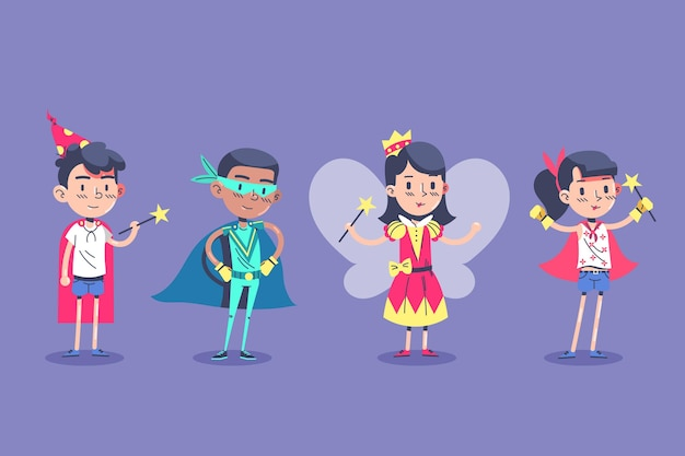 Kinderen dragen verschillende carnavalskostuums en staan