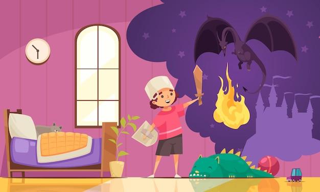 Kinderen dromen drakencompositie met uitzicht op woonkamer met spelende jongen en zijn gedachtenbubbel