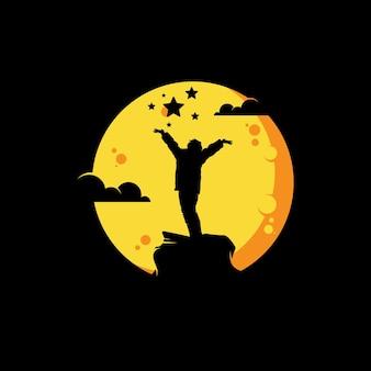 Kinderen dromen op de maan logo ontwerpsjabloon