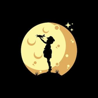 Kinderen dromen op het maanlogo-ontwerp