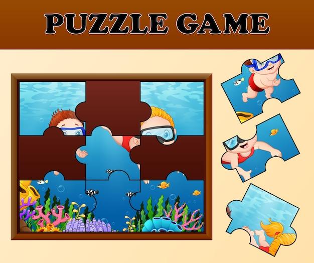 Kinderen duiken met puzzel concept