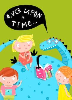 Kinderen en dragon reading book