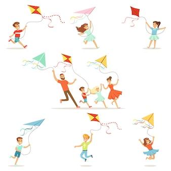 Kinderen en hun ouders die met vlieger gelukkig en glimlachend lopen. het beeldverhaal detailleerde kleurrijke illustraties