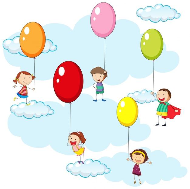 Kinderen en kleurrijke ballonnen in hemel illustratie