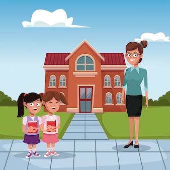 Kinderen en leraar op school