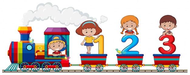 Kinderen en nummer in de trein