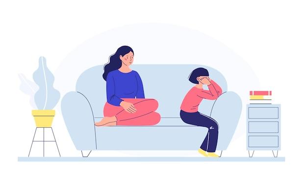 Kinderen en ouders praten concept moeder praat met haar dochter
