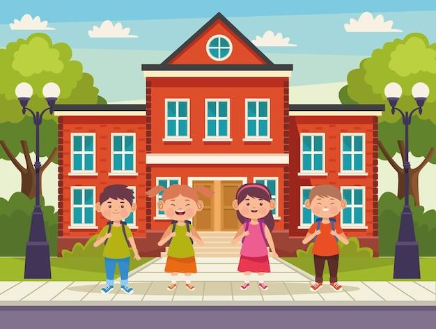 Kinderen en school illustratie