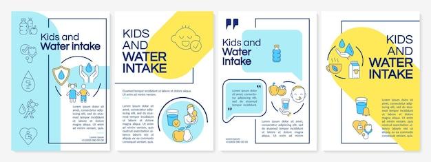Kinderen en wateropname blauwe, gele brochuresjabloon. flyer, boekje, folder afdrukken, omslagontwerp met lineaire pictogrammen. vectorlay-outs voor presentatie, jaarverslagen, advertentiepagina's