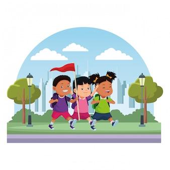 Kinderen en zomerkamp tekenfilms