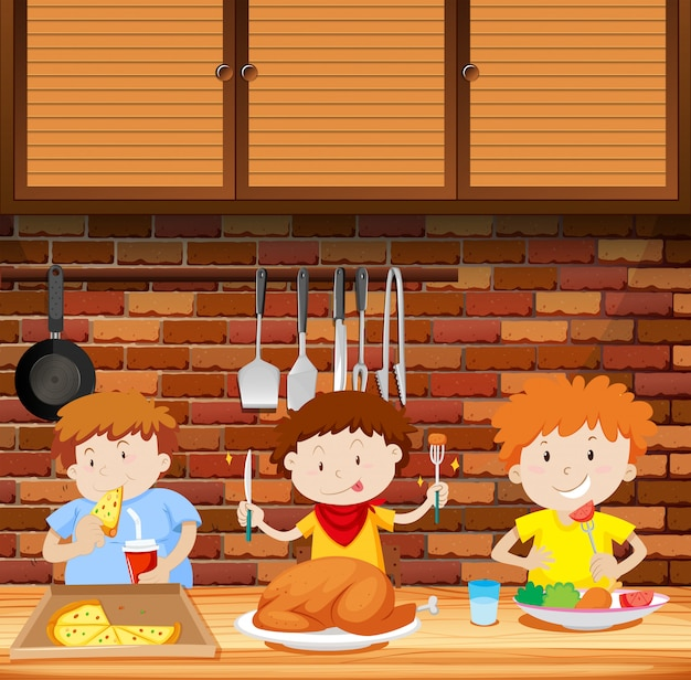 Kinderen eten samen een maaltijd