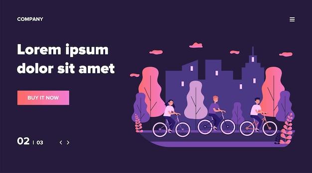 Kinderen fietsen in stadspark. fiets, stadsgezicht, sportillustratie. vriendschaps- en activiteitenconcept voor banner, website of bestemmingswebpagina