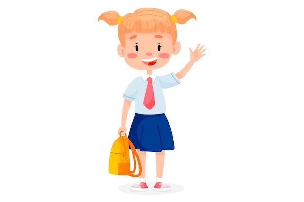 Kinderen gaan naar school. terug naar school illustratie. kinderen onderwijs illustratie op witte geïsoleerde achtergrond.