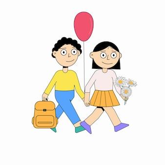 Kinderen gaan naar school. terug naar school