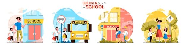 Kinderen gaan naar schooltaferelen in vlakke stijl