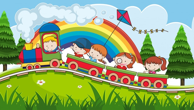 Kinderen gaan op vakantie met de trein