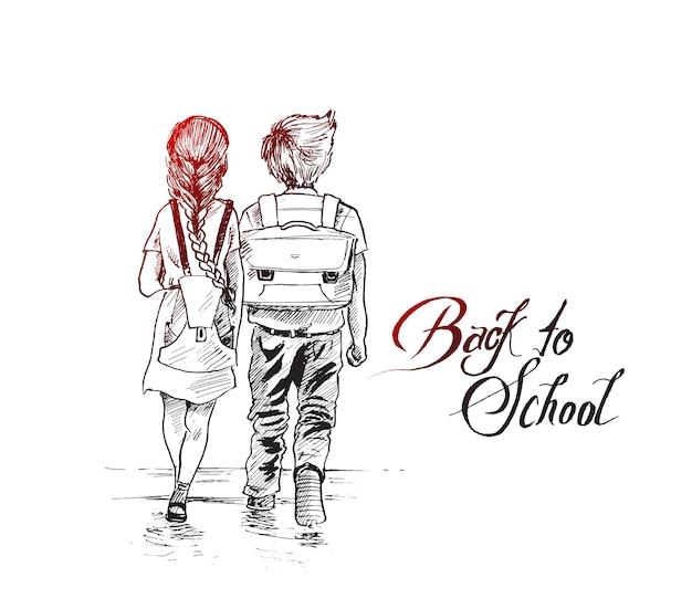 Kinderen gaan samen naar school hand getrokken schets vector achtergrond