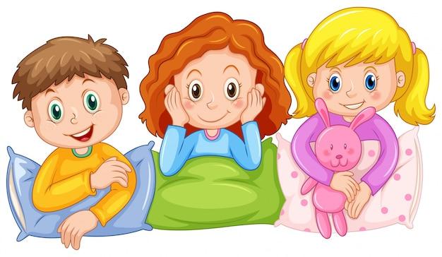 Kinderen gelukkig bij slumber party