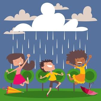 Kinderen genieten van de regen stripfiguren gelukkige kinderen dansen en springen in de regen