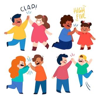 Kinderen geven high five illustratie