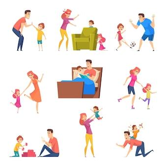 Kinderen goede tijd in gelukkige familie vader moeder spelen met zoon en dochter karakters.