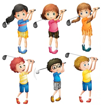 Kinderen golfen