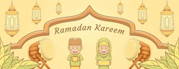 Kinderen hand getrokken ramadan kareem