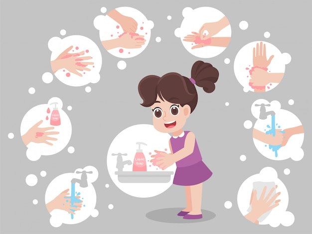 Kinderen handen wassen voor het voorkomen van virussen