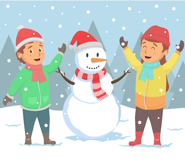 Kinderen happines met sneeuwpop op winterseizoen illustratie
