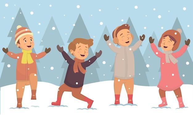 Kinderen happines met sneeuwvlok op winterseizoen kerstmis