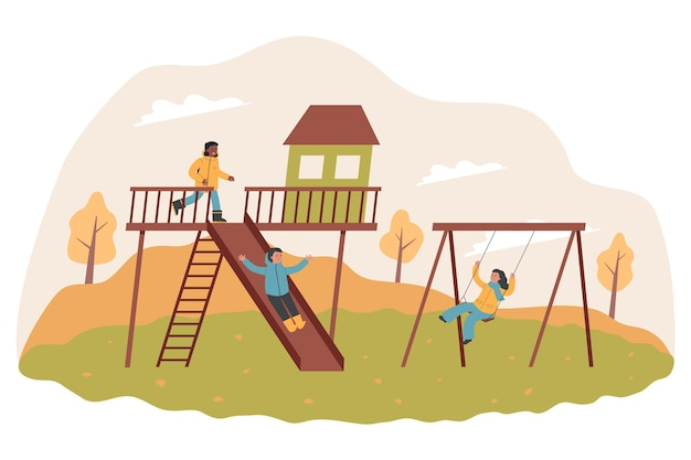 Kinderen hebben plezier buiten in de herfst