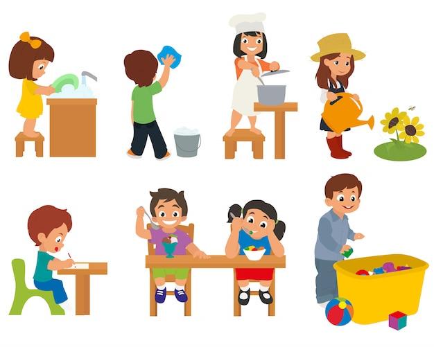 Kinderen helpen hun ouders met huishoudelijke taken