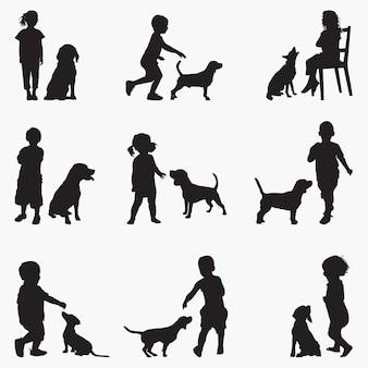Kinderen honden silhouetten
