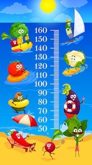 Kinderen hoogtegrafiek cartoon groenten op zomer strand vrije tijd