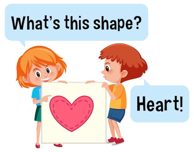 Kinderen houden hartvorm vast met wat is deze vorm