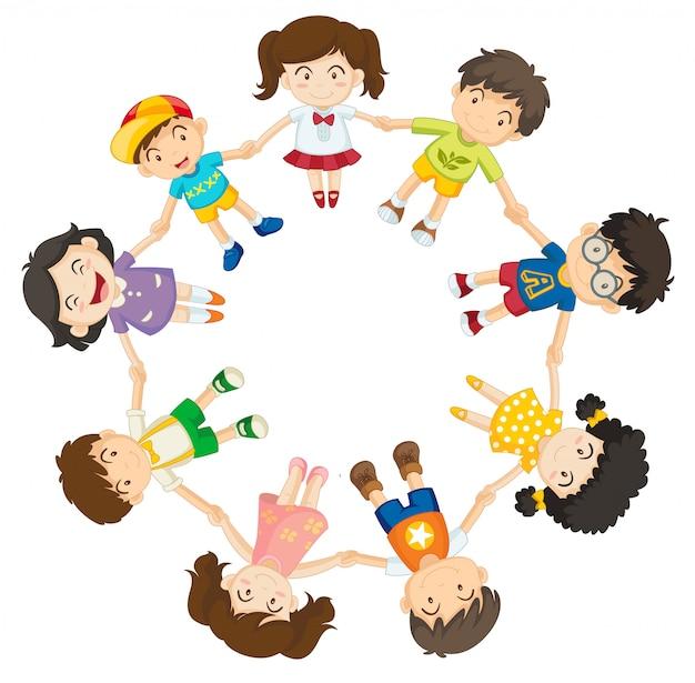 Kinderen houden hun handen vast