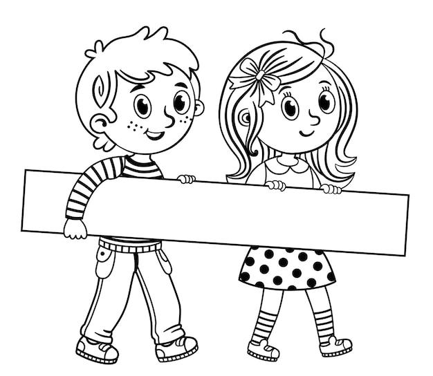 Kinderen houden leeg leeg bord ruimte voor tekst zwart-wit geïsoleerde vectorillustratie