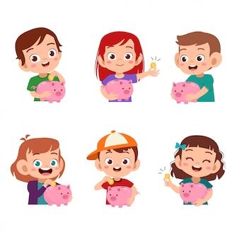 Kinderen houden spaarvarken set bundel