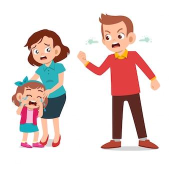 Kinderen huilen met ouders die tegen vechten