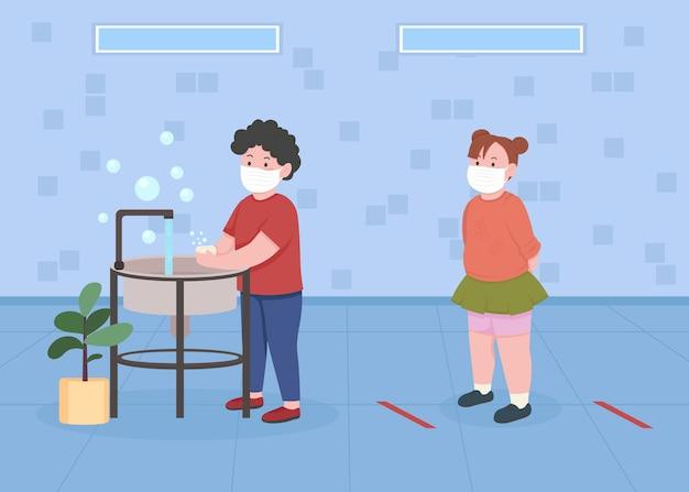 Kinderen in de badkamer met illustratie van de sociale afstand egale kleur wachtrij in het toilet van de kleuterschool om handen te assen kinderen in maskers stripfiguren met voorschoolse wasruimte