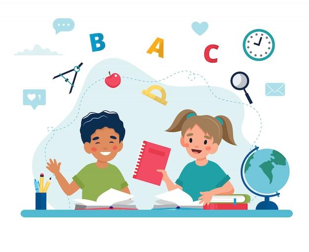 Kinderen in de klas lezen, terug naar school concept, schattige personages.