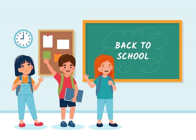 Kinderen in de klas met een schoolbord, terug naar school-concept, schattige personages.