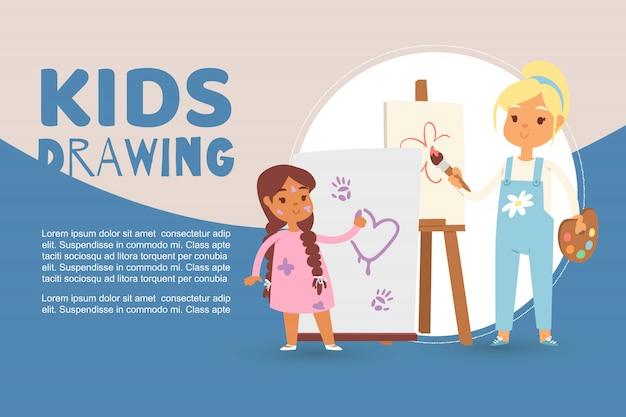 Kinderen in de kunst klas tekenen foto's sjabloon