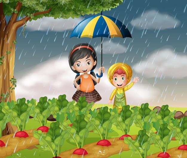 Kinderen in de tuin als het regent