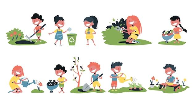 Kinderen in de tuinset. verzameling van kinderen tuinieren