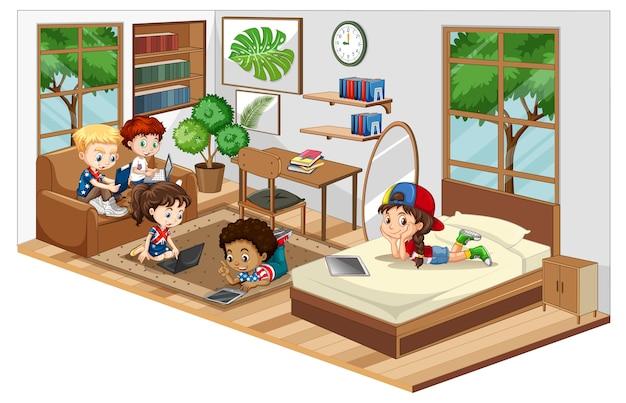 Kinderen in de woonkamer met meubels