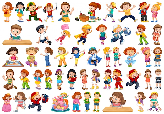 Kinderen in grote groep handelen onze verschillende rollen