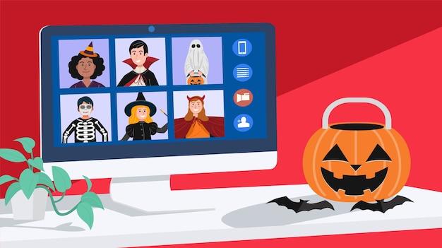 Kinderen in halloween kleden videovergaderingen thuis aan. vector