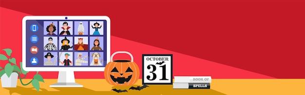 Kinderen in halloween kleden videovergaderingen thuis aan.