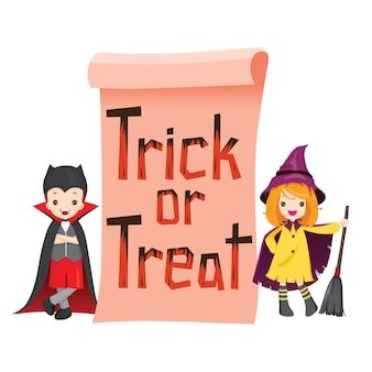 Kinderen in halloween kostuum met trick or treat banner